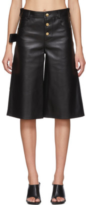 Bottega Veneta Black Leather Wide-Leg Shorts