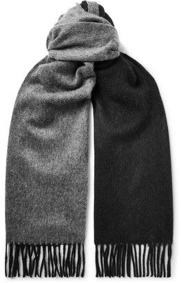 Tom Ford Fringed Two-Tone Double-Faced Cashmere Scarf - Men - Gray