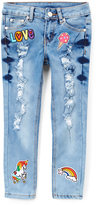 A Wish Blue Distressed Unicorn & Rainbow Patches Jeans - Girls