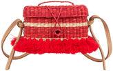 Nannacay Red Straw Baby Roge Fringed Bag