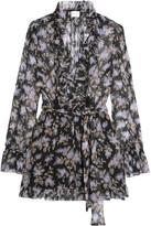 Zimmermann Ruffled Floral-print Silk-georgette Playsuit - Black