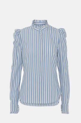 custommade Hania Stripes Shirt In Little Boy Blue - M