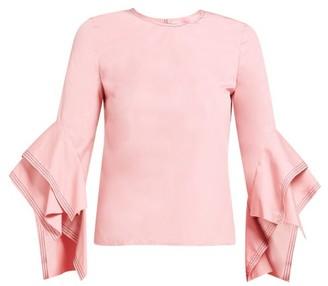 Roksanda Rana Topstitched Cotton Top - Womens - Pink