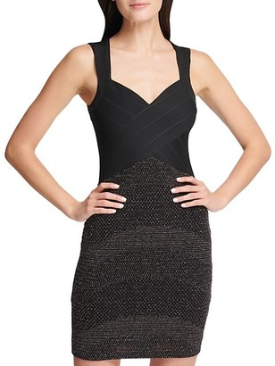 GUESS Cutout-Back Metallic Bodycon Dress