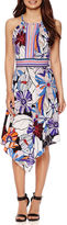 London Times London Style Collection Sleeveless Floral Alternative-Hem Halter Dress
