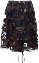 Sacai organza patch embroidered skirt