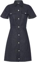 Manoush Crystal Button Front Denim Dress
