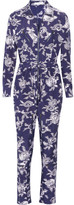 Equipment Maverick Printed Brushed-silk Jumpsuit - Navy