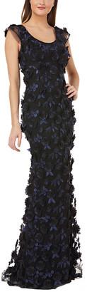 Carmen Marc Valvo Scoop Neck Illusion Back Gown