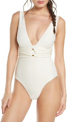 Chelsea28 Belted Textured One-Piece Swimsuit