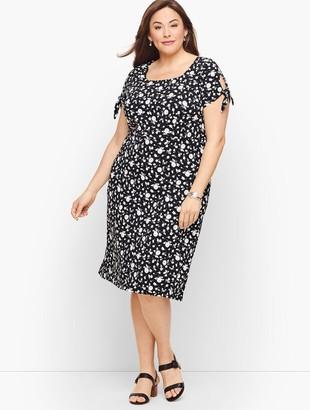 Talbots Knit Jersey Tie Sleeve Dress - Floral Stripe