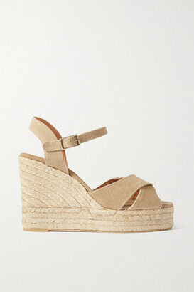 Castaner Net Sustain Blaudel 100 Canvas Wedge Sandals - Beige