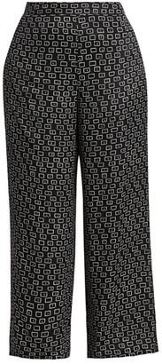 Lafayette 148 New York, Plus Size Colombus Square Print Wide-Leg Trousers