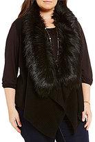 MICHAEL Michael Kors Faux Fur Collar Sweater Vest