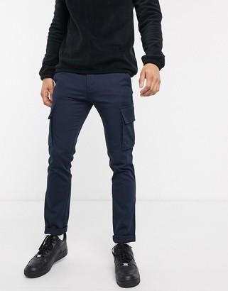 Tommy Hilfiger bleecker slim fit cargo trousers in navy