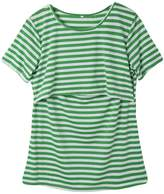 Multitrust Women Stripe Print Short Sleeve Breastfeeding Maternity Tops Nursing T Shirts (L, )