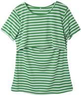 Multitrust Women Stripe Print Short Sleeve Breastfeeding Maternity Tops Nursing T Shirts (M, )