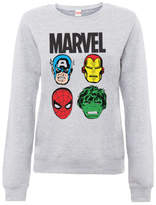 Marvel Comics Main Character Faces Women's Grey Sweatshirt