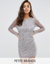Boohoo Petite Embellished Long Sleeve Mini Dress