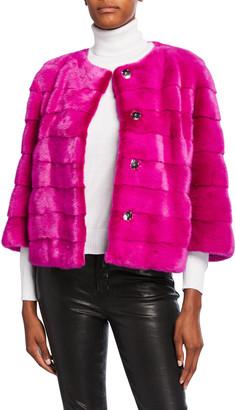Gorski Horizontal Mink Fur 3/4 Sleeve Collarless Jacket