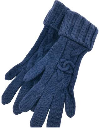 Chanel Blue Wool Gloves