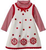 Bonnie Jean Baby Girl Snowflake Sweater Jumper Dress & Striped Turtleneck Bodysuit Set