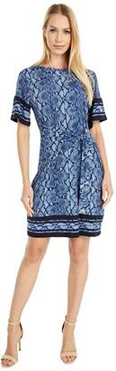 MICHAEL Michael Kors Snake Border Tie Dress (Chambray) Women's Dress