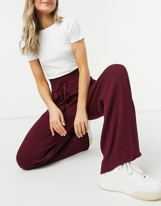 Steele wide rib trackies in wine