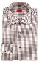 Isaia Windowpane-Check Woven Dress Shirt, Brown