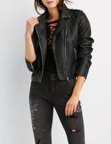 Charlotte Russe Embroiderd & Studded Faux Leather Jacket