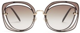 Miu Miu Oversized cut-out metal sunglasses