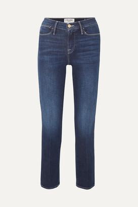 Frame Le High Cropped Straight-leg Jeans - Mid denim