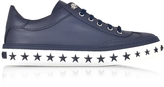 Jimmy Choo Ace Sport Official Navy Leather Low Top Sneakers w/Star Studded Sole