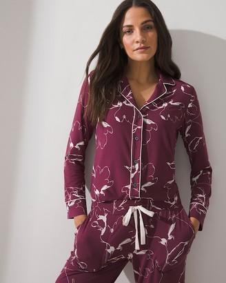 Soma Intimates Cool Nights Long Sleeve Notch Collar Pajama Top