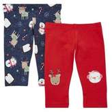 F&F 2 Pack of Christmas Leggings with As New Technology, Newborn Girl's