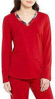 Sleep Sense Petite Flannel-Trimmed Jersey Sleep Top