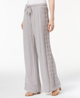 INC International Concepts Petite Gauze Crochet-Trim Wide-Leg Pants, Created for Macy's