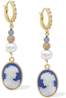 Vintouch Italy Little Lovelies Gold-Plated Blue Cameo Earrings