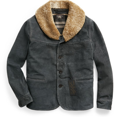 Thumbnail for your product : Ralph Lauren Shearling-Collar Indigo Suede Jacket