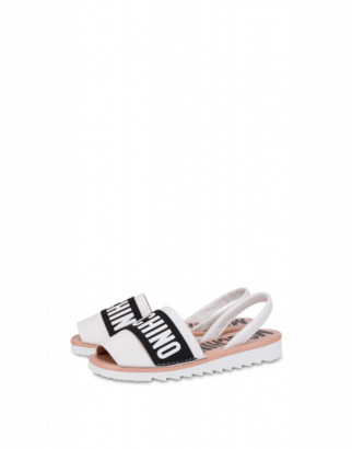 Moschino Calfskin Elastic Band Sandals Woman White Size 36 It - (6 Us)