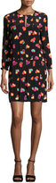 Moschino Split-Neck Heart-Print Crepe Shift Dress, Black