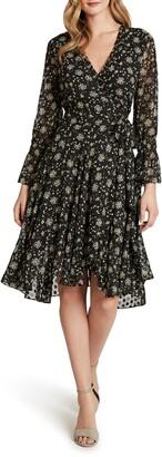Tahari Floral Long Sleeve Dot Chiffon Ruffle Faux Wrap Dress