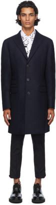 Neil Barrett Navy Wool Raw-Cut Travel Coat