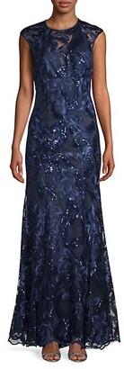Carmen Marc Valvo Floral Lace Gown