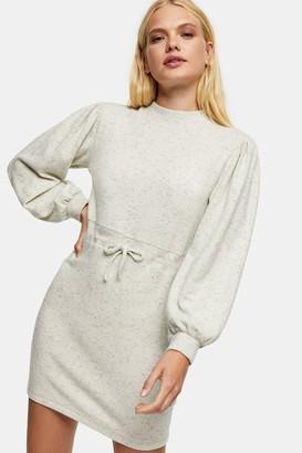 Topshop Womens Oat Sweatshirt Mini Dress - Oatmeal