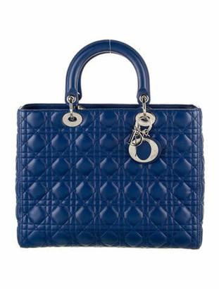 Christian Dior Large Cannage Lady Bag w/ Strap Blue