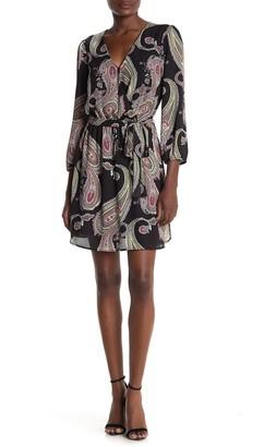 Faux Wrap 3/4 Sleeve Dress