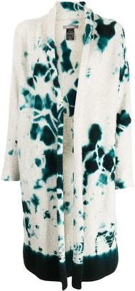 Suzusan Tie Dye-Print Cashmere Cardi-Coat