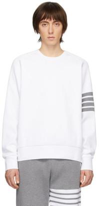 Thom Browne White Waffle 4-Bar Sweatshirt