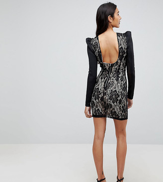 Asos Tall TALL Lace Bodycon Puff Sleeve Mini Dress-Black